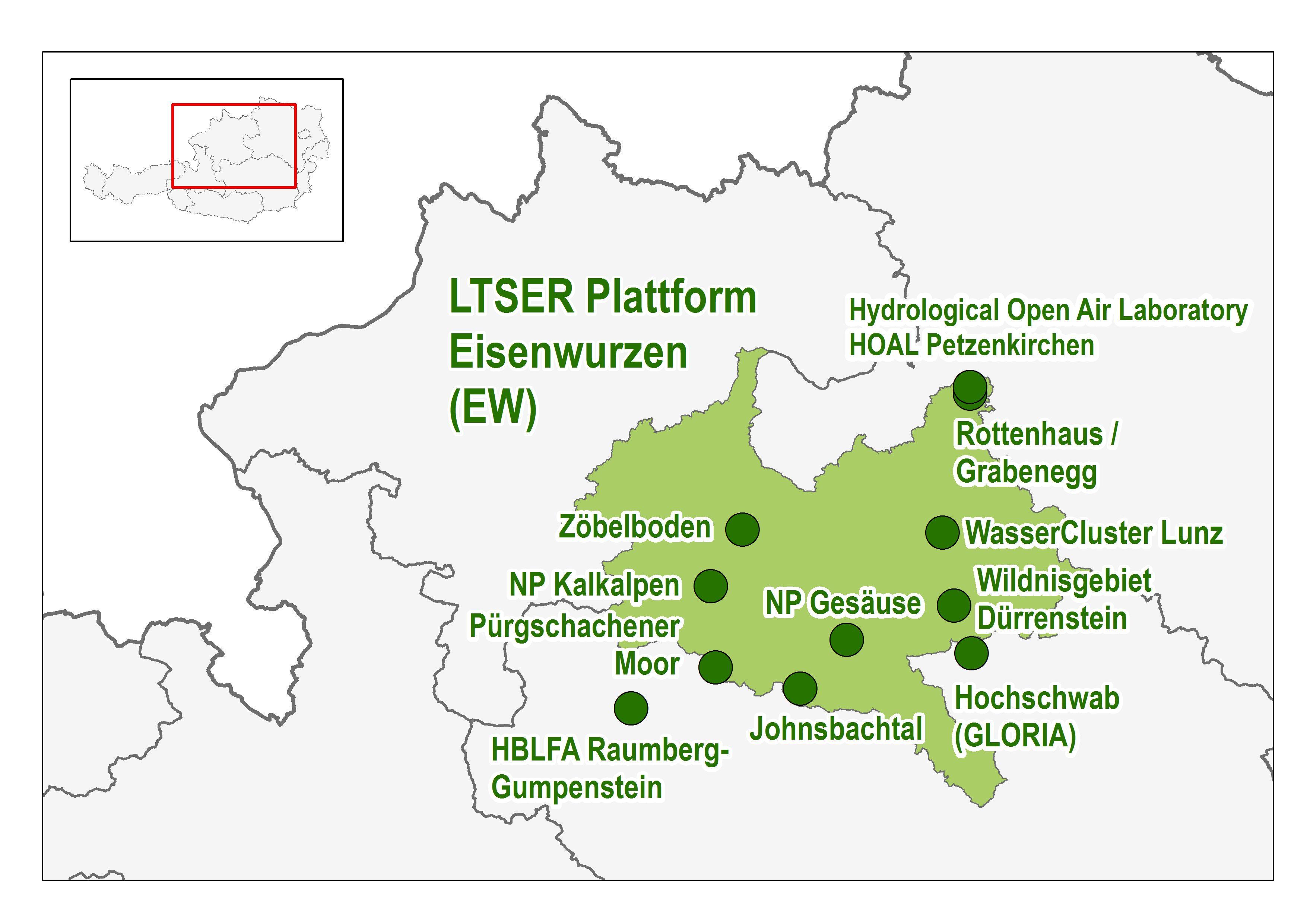 Die LTER Standorte in der LTSER Plattform Eisenwurzen © Umweltbundesamt